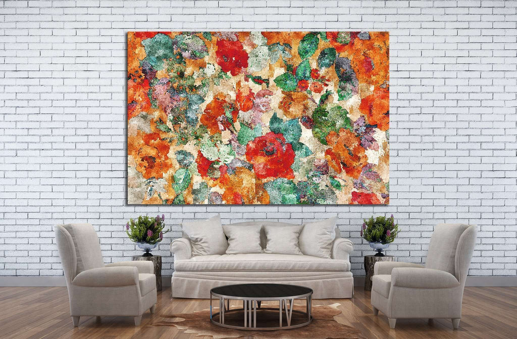 water color effect of flowers colorful pattern №1342 Ready to Hang Canvas Print