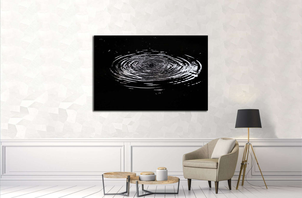 Water ripples from a drop of water in the dark №3015 Ready to Hang Canvas Print
