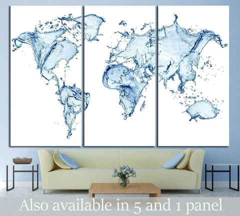 Water Splashes World Map №1452 Ready to Hang Canvas Print