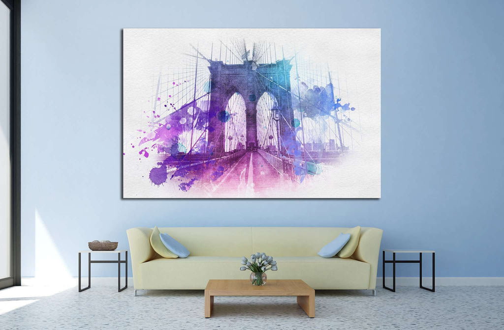 Watercolor Brooklyn Bridge №805 Ready to Hang Canvas Print