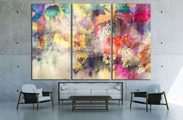 watercolor painting combined with field №2895 Ready to Hang Canvas Print