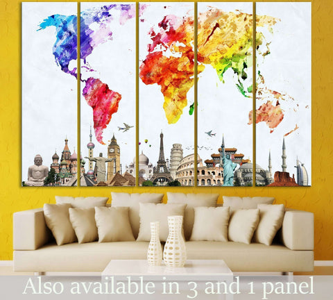 World map wall art at zellart canvas arts watercolor world map 103 ready to hang canvas print gumiabroncs Gallery