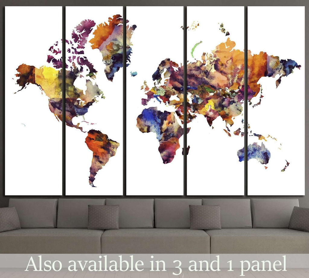 Watercolor World Map №1456 Ready to Hang Canvas Print