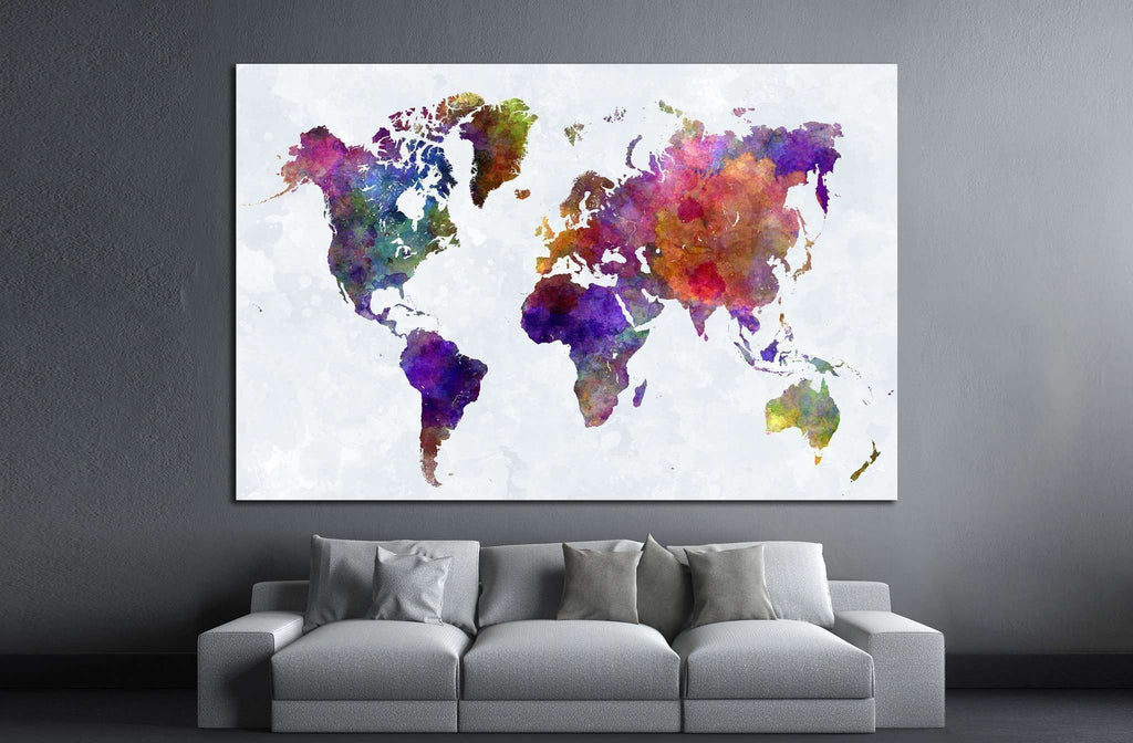 Watercolor world map 1459 ready to hang canvas print zellart watercolor world map 1459 ready to hang canvas print gumiabroncs Choice Image