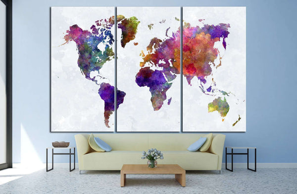 Watercolor World Map №1459 Ready to Hang Canvas Print
