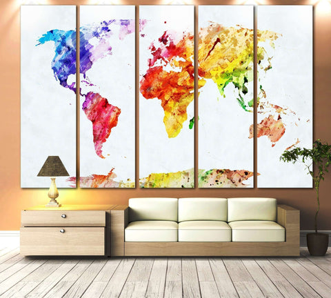 Watercolor World Map №705 Ready to Hang Canvas Print