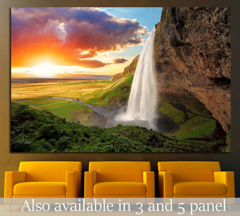 Waterfall, Iceland - Seljalandsfoss №646 Ready to Hang Canvas Print