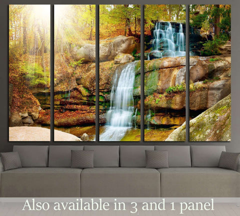 Waterfall in forest №2500 Ready to Hang Canvas Print