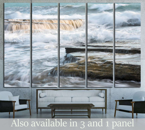 Waves crashing to sea rock plates №3157 Ready to Hang Canvas Print