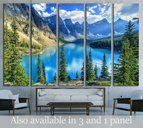 Wenkchemna Peaks Reflection on Moraine Lake, Banff, Rocly Mountain, Canada №3073 Ready to Hang Canvas Print