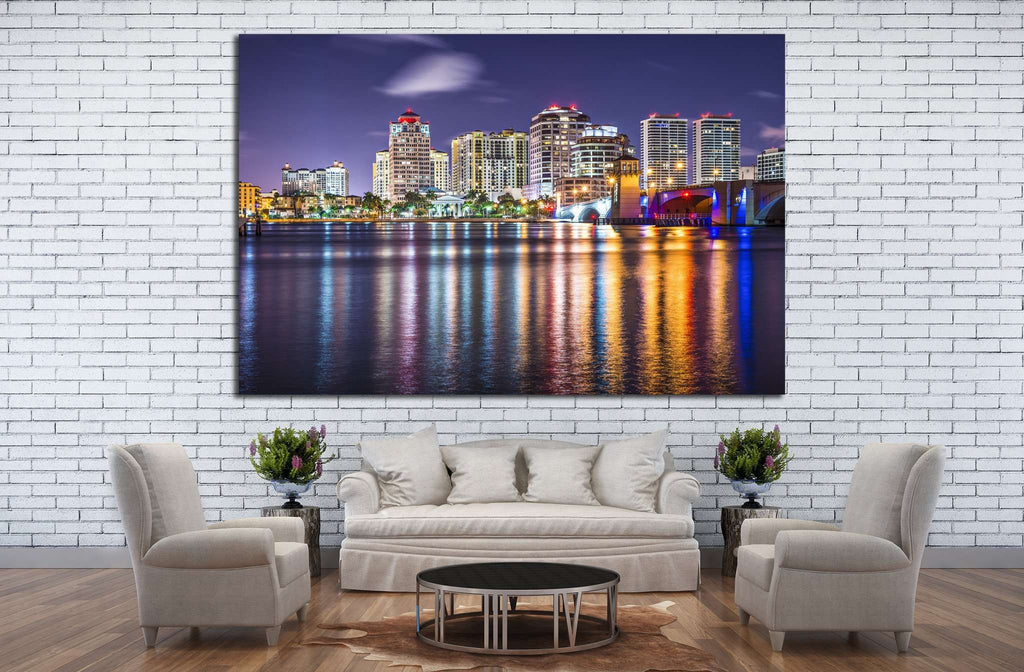 West Palm Beach, Florida nighttime skyline №1207 Ready to Hang Canvas Print