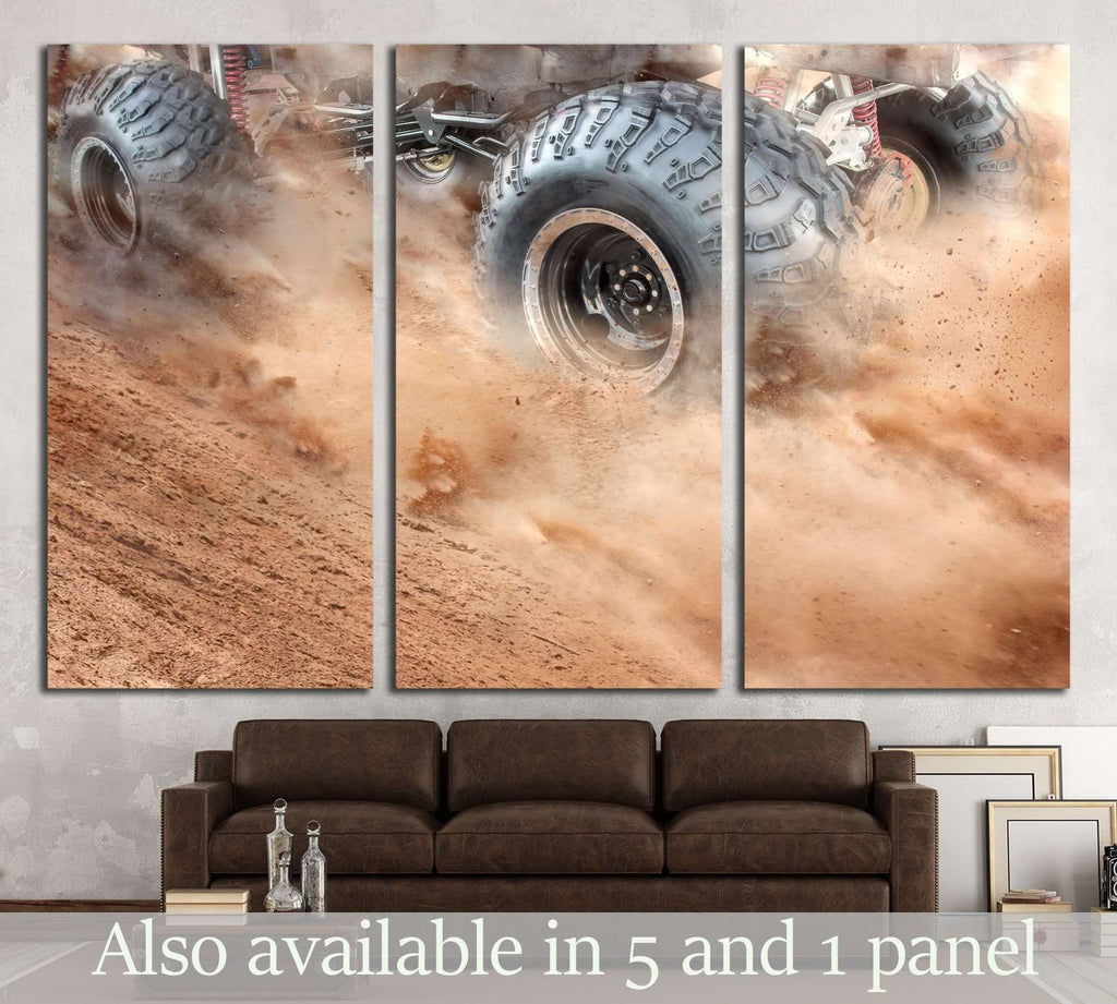 wheels tires and off-road truck №1866 Ready to Hang Canvas Print