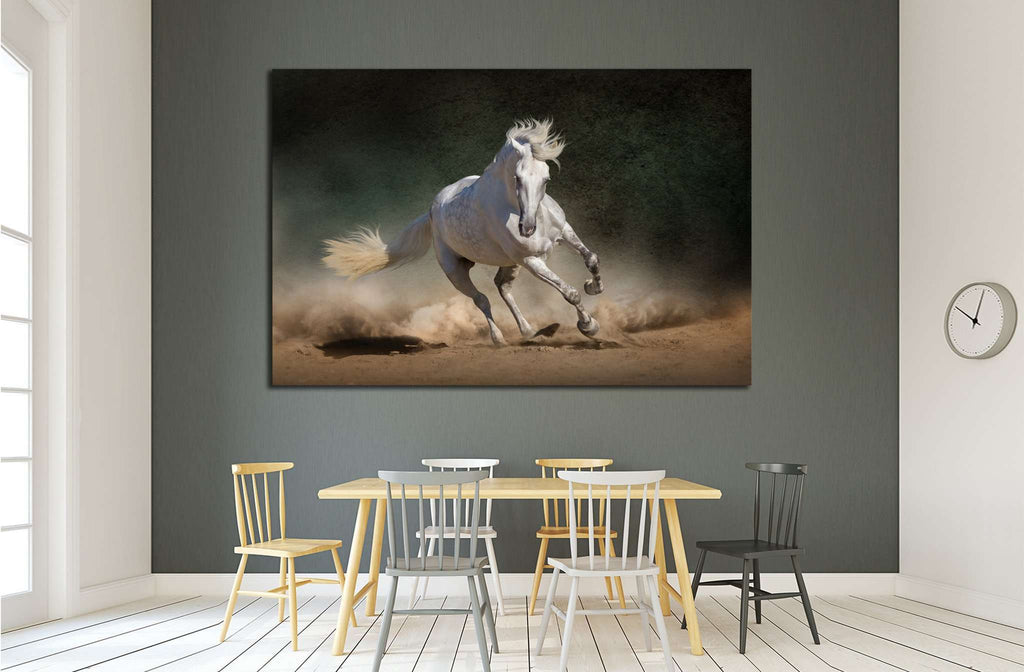 White andalusian horse in desert dust against dark background №1855 Ready to Hang Canvas Print