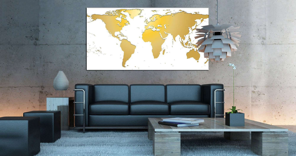 White / Gold World Map №862