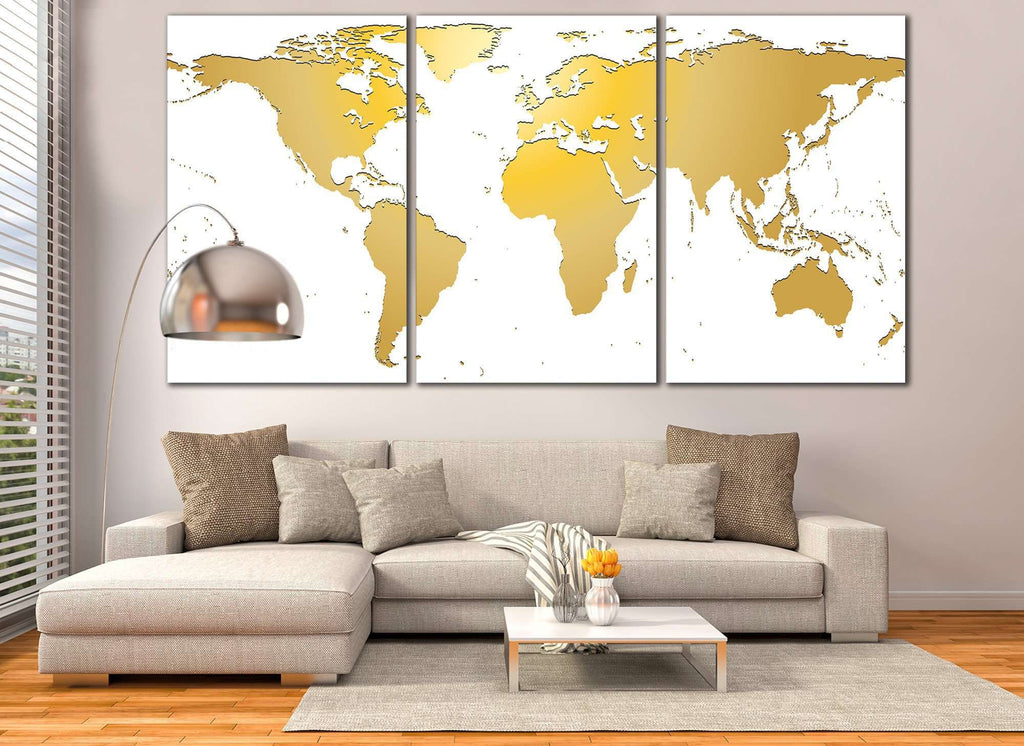 White gold world map 862 ready to hang canvas print zellart white gold world map 862 ready to hang canvas print gumiabroncs