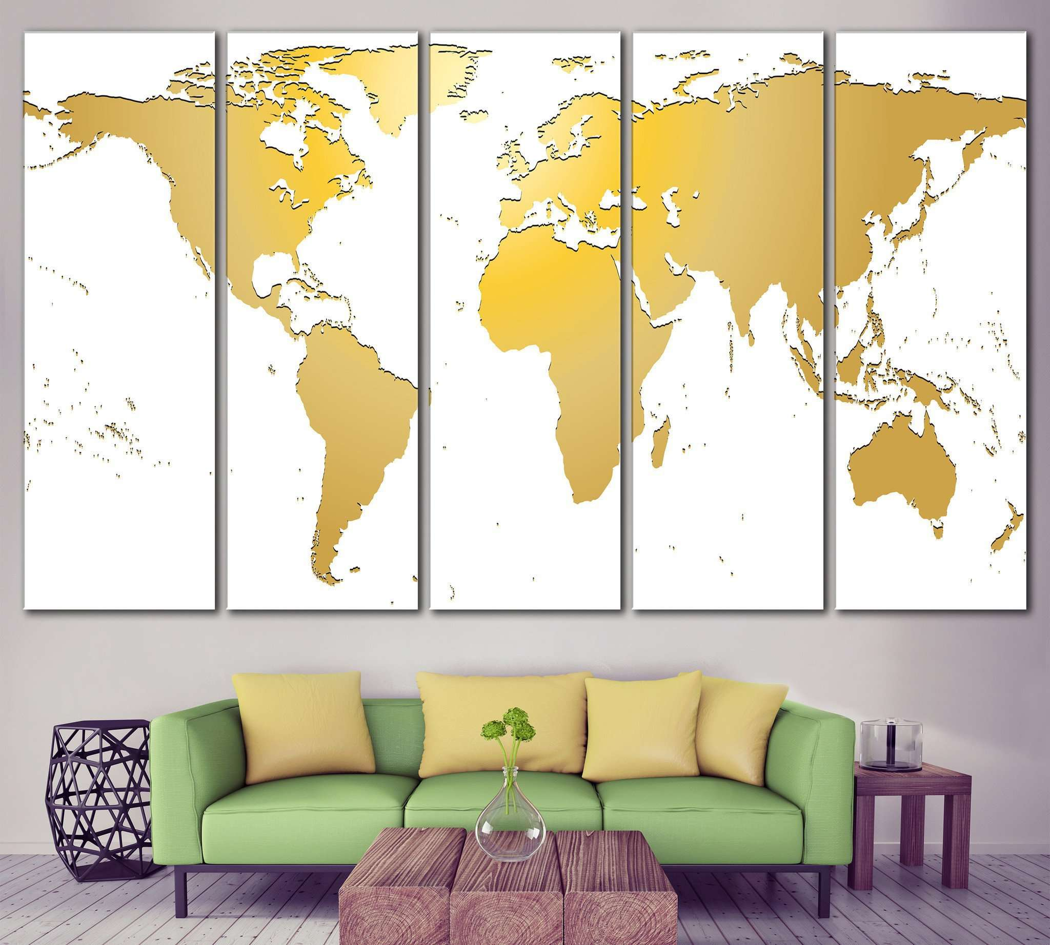 White / Gold World Map №862 Framed Canvas Print – Zellart