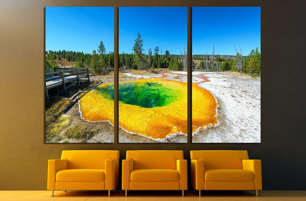 Wide angle view of the Morning Glory Pool in the Upper Geyser Basin in Yellowstone National Park №2005 Ready to Hang Canvas Print