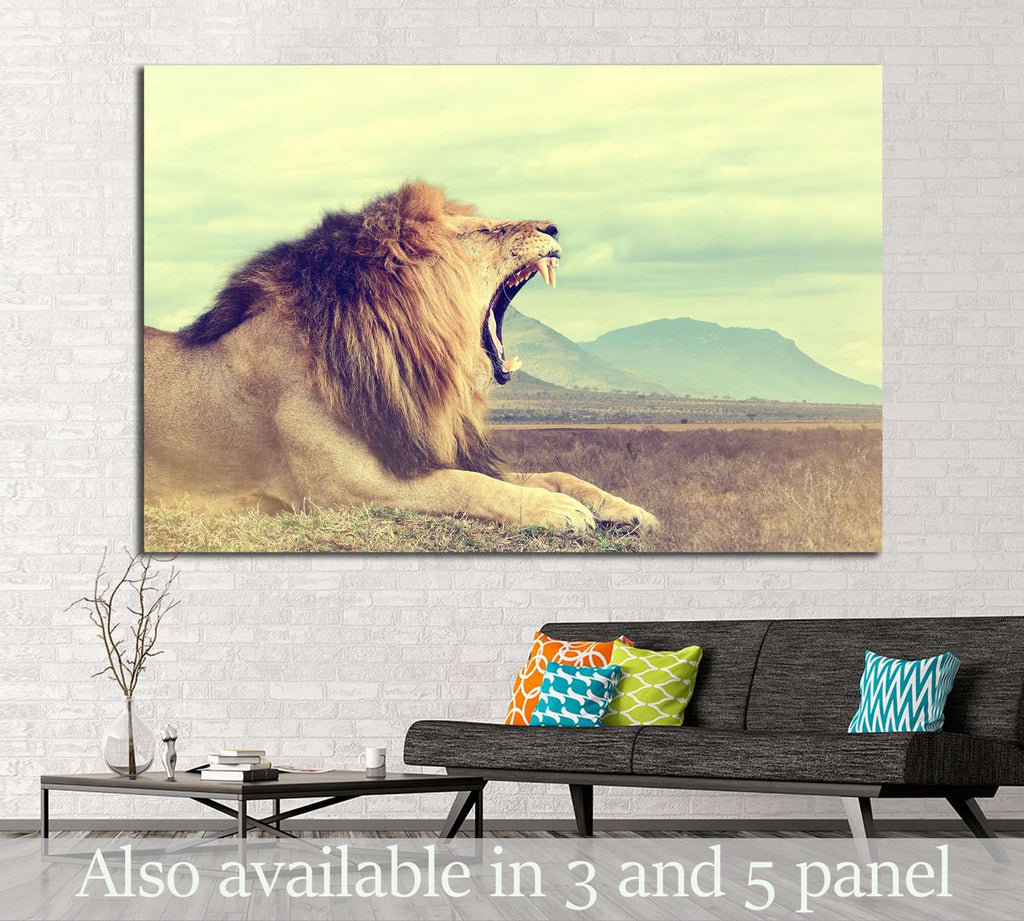 Wild african lion. Vintage effect. National park of Kenya, Africa №1860 Ready to Hang Canvas Print