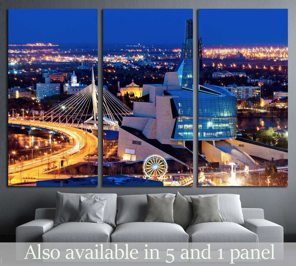 Winnipeg panorama at sunset. Winnipeg, Manitoba, Canada №2176 Ready to Hang Canvas Print