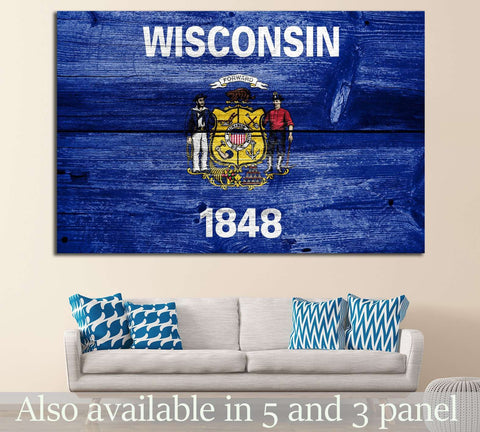 Wisconsin State Flag №697 Ready to Hang Canvas Print