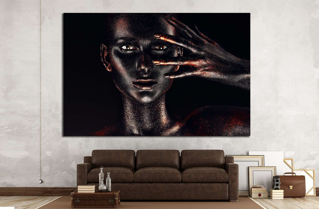 woman in black paint body №746 Framed Canvas Print