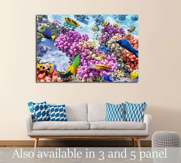 Wonderful and beautiful underwater world with corals and tropical fish №3065 Ready to Hang Canvas Print