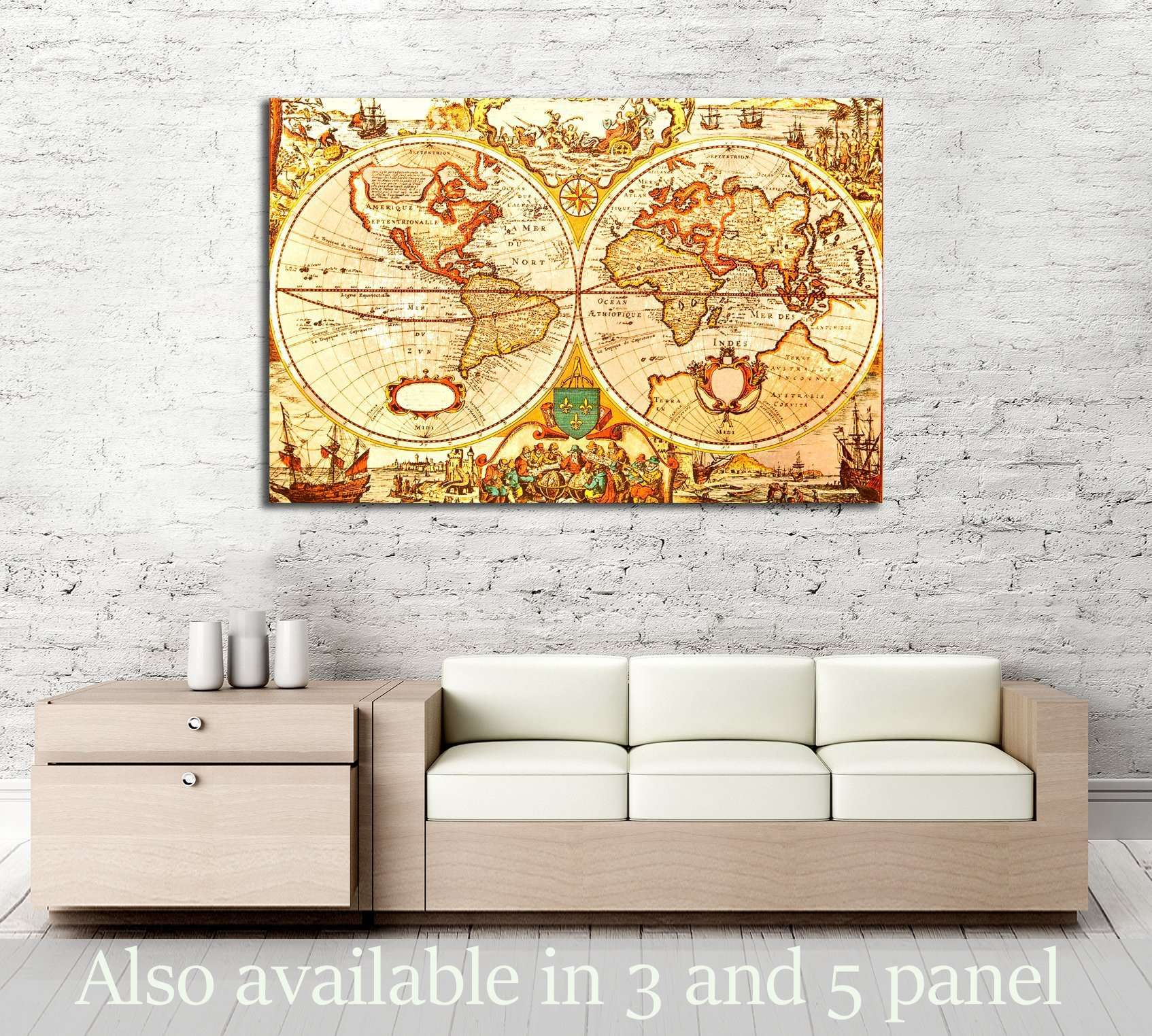 Unique Antique Map Wall Art Motif - Wall Art Collections ...