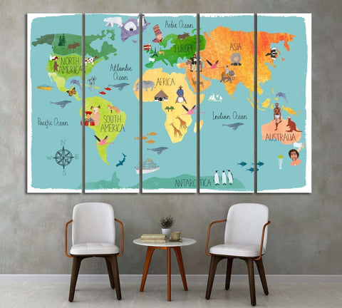 Kids World Map Wall Art At Zellart Canvas Arts - World map for kids room