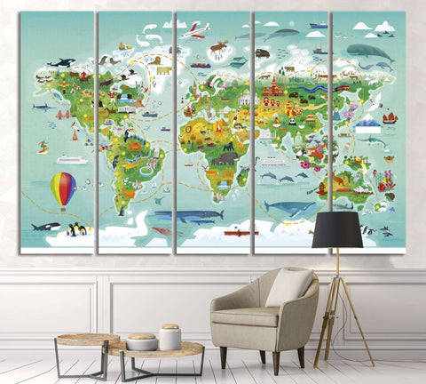 World map for kids№32 Ready to Hang Canvas Print