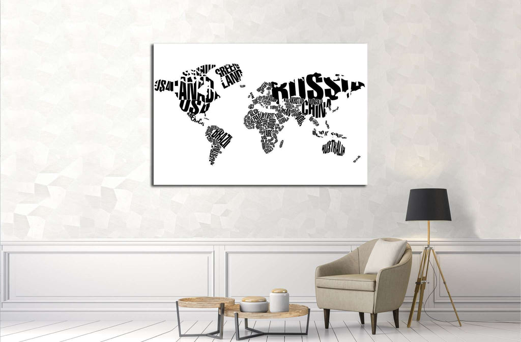 World map in typography 1927 ready to hang canvas print zellart world map in typography 1927 ready to hang canvas print gumiabroncs Gallery