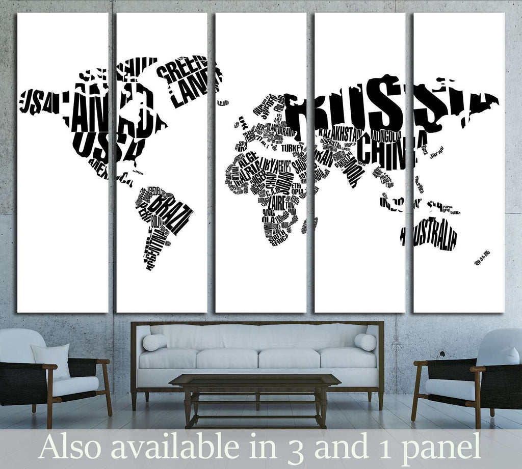 World Map in Typography №1927 Ready to Hang Canvas Print