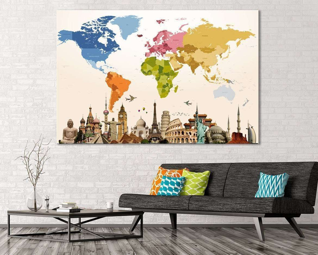 World Map №109 Ready to Hang Canvas Print
