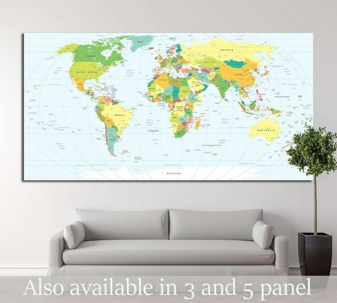 World map №1450 Ready to Hang Canvas Print