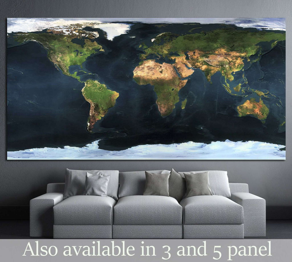 World map №1453 Ready to Hang Canvas Print