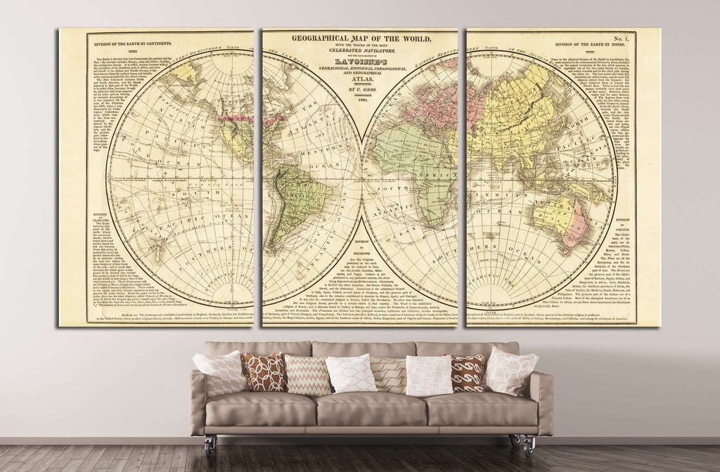 World Map №1492 Ready to Hang Canvas Print