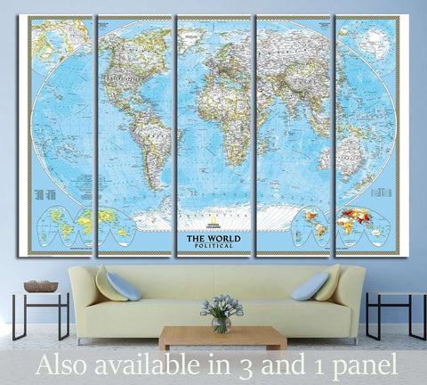 World Map №1496 Ready to Hang Canvas Print