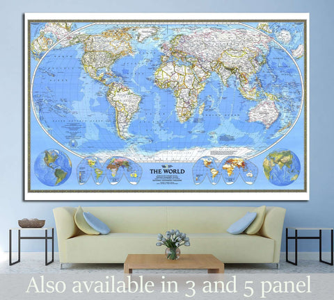 World Map №1498 Ready to Hang Canvas Print
