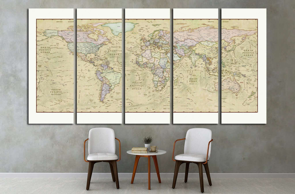 World Map №1501 Ready to Hang Canvas Print