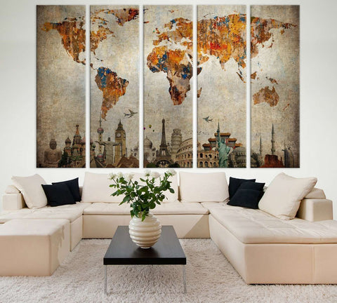 World Map №713 Framed Canvas Print