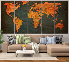 World Map №798 Ready to Hang Canvas Print
