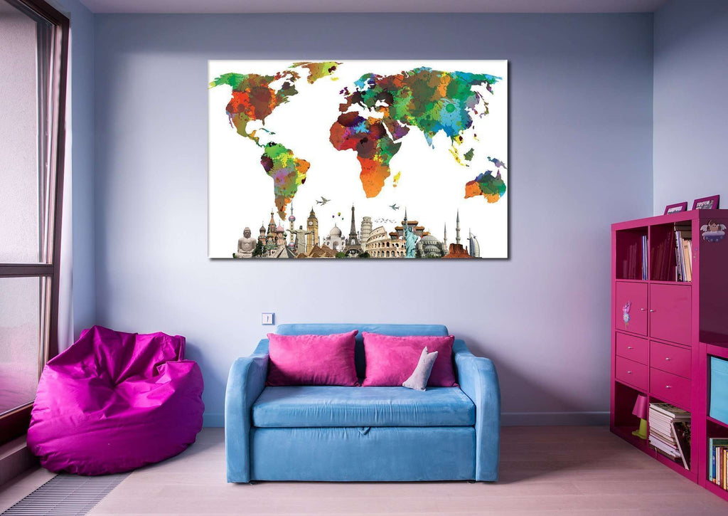 World Map №854 Ready to Hang Canvas Print
