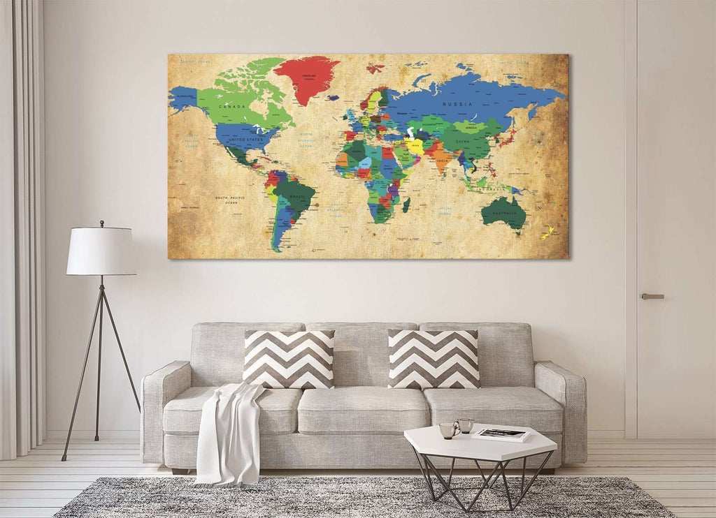 World Map №873 Ready to Hang Canvas Print