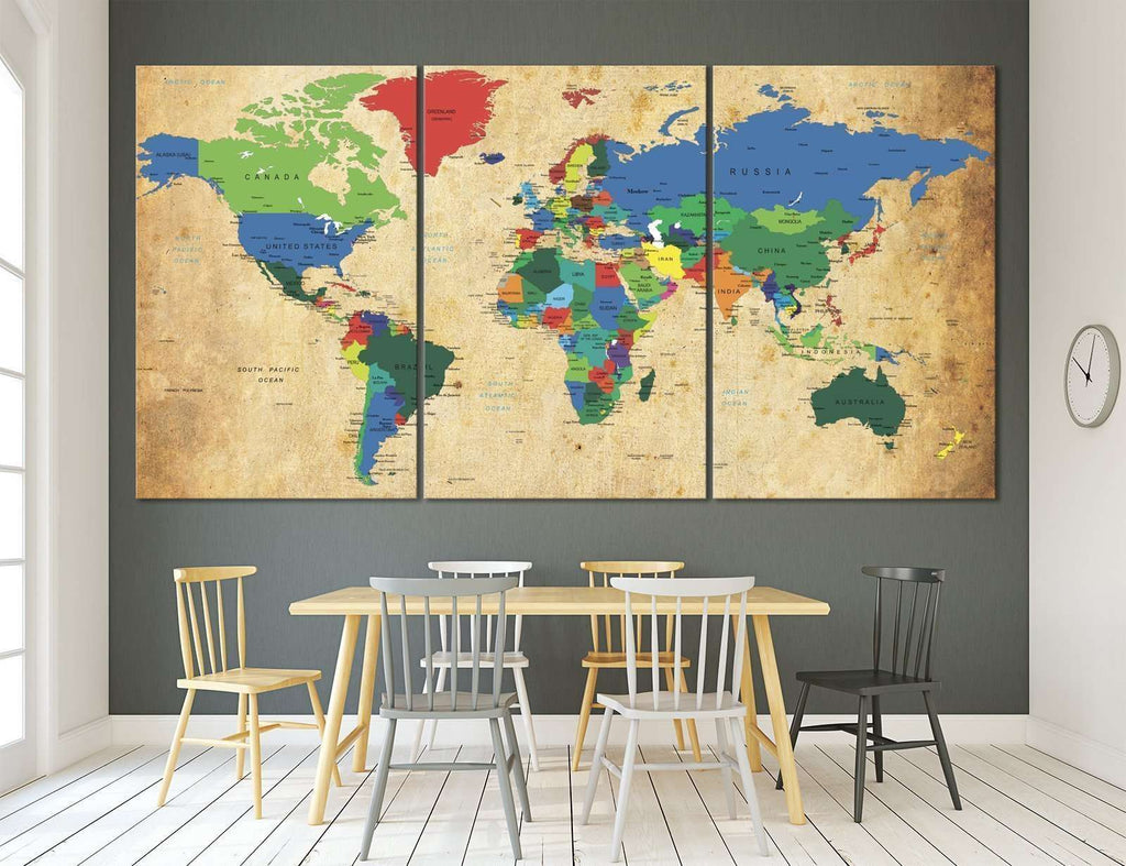 World Map №873 Ready to Hang Canvas Print – Zellart
