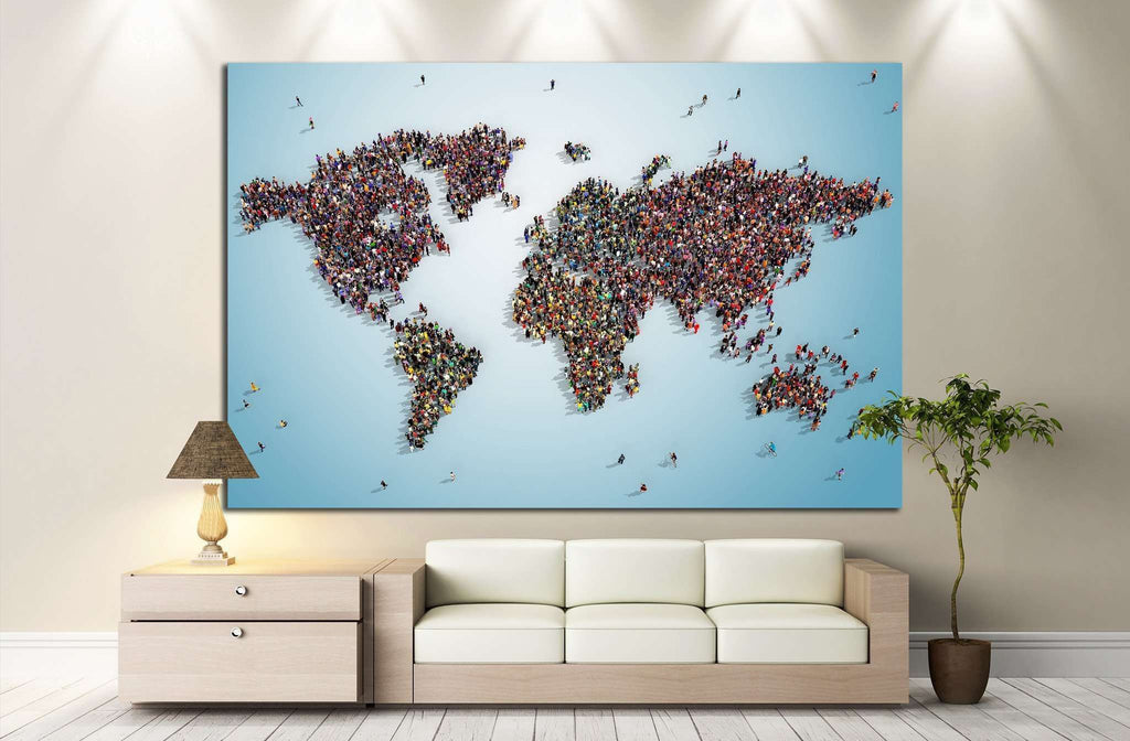 world map with bluish background №1325 Ready to Hang Canvas Print