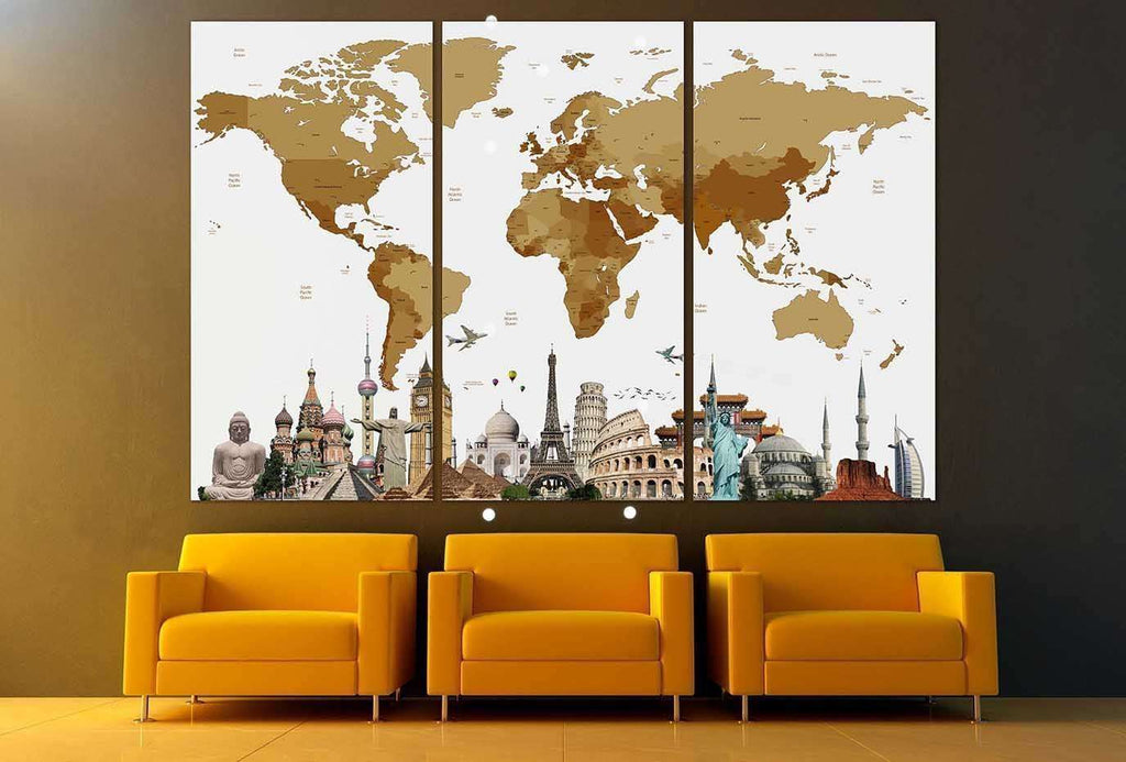 World Map with landmarks №101 Canvas Print