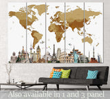 World Map with landmarks №101 Ready to Hang Canvas Print