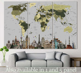 World Map With Landmarks №107 Ready to Hang Canvas Print