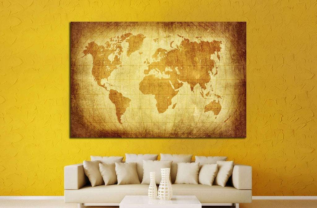 world map with Latitude on vintage pattern №1322 Ready to Hang Canvas Print
