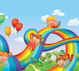 XXL Children slide down on a rainbow №55 Ready to Hang Canvas Print