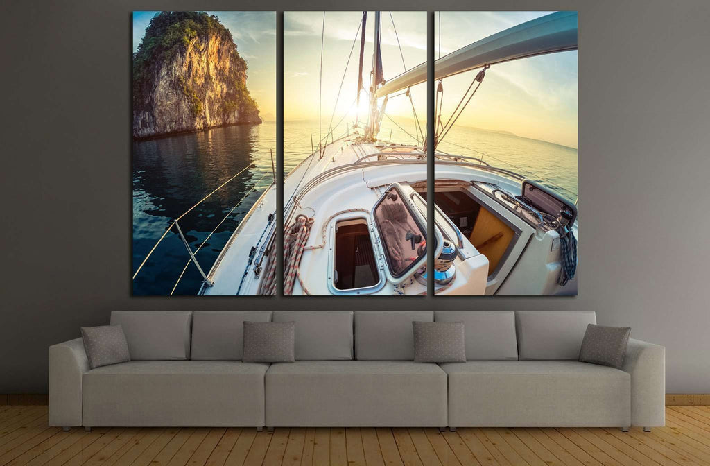Yacht and Sunset №210 Ready to Hang Canvas Print